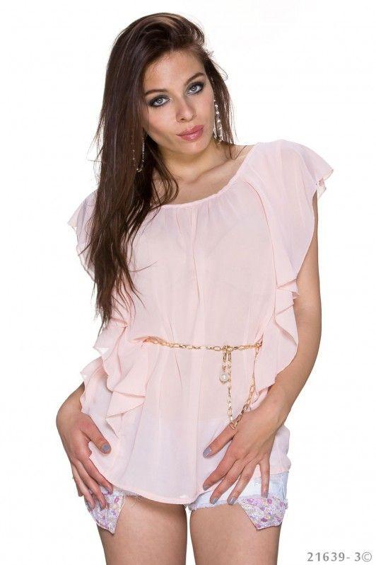 Licht roze shirtje met gouden riempje