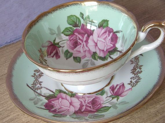 Antique 1950's EB Foley pink roses tea cup and by ShoponSherman