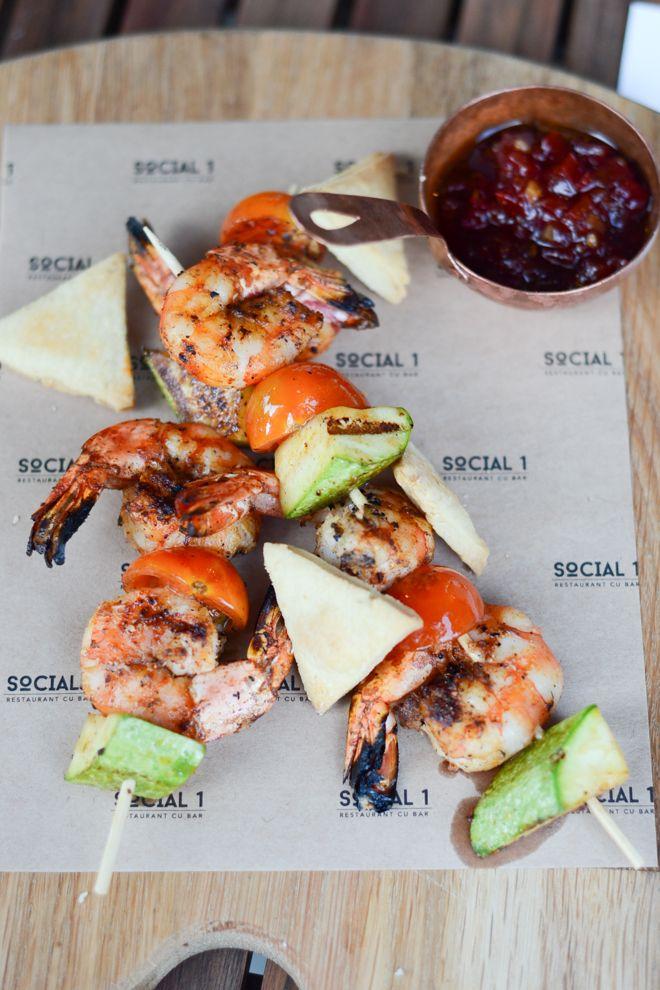kebab de creveţi cu zucchini