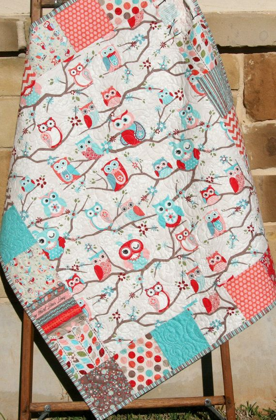 Owl Quilt, Girl Bedding, Pink Coral Aqua Baby Blue, Nursery Crib Blanket Cot, Chevron Stripes Dots, Adorn It, Shower Gift by SunnysideDesigns2