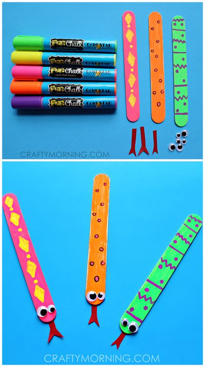 Easy craft stick snakes for the kids to make! Cute craft to make using fun chalk markers.