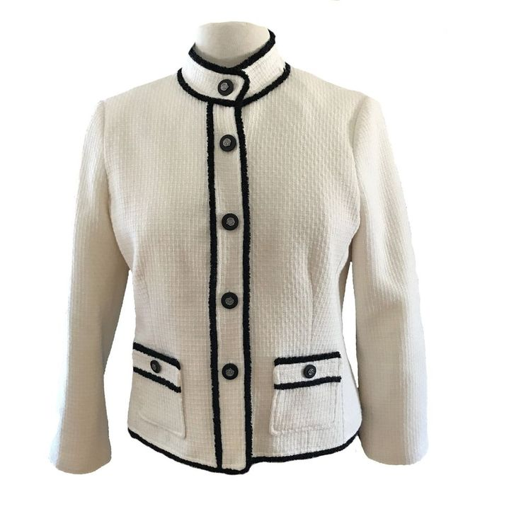 TRISTAN Womens Fitted Off White Black Trim Chanel Style Jacke SIZE 6 | eBay
