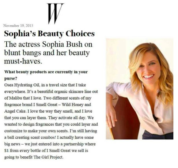 Our co-founder @SophiaBush is in @WMag! She shares her beauty must-haves including current favorite i smell great combo, ‪#‎WIldHoney‬ and ‪#‎AngelCake‬! Plus, she's sharing BIG news about our partnership with The Girl Project. $1 of every ‪#‎ismellgreat‬ bottle sold is going straight to TGP so when you ‪#‎creategreat‬, you smell AND ‪#‎feelgreat‬ too!