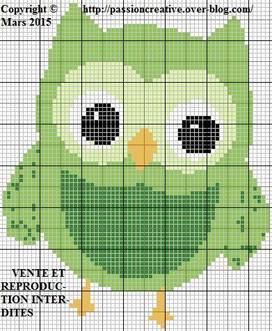 Grille gratuite point de croix : Chouette verte - Le blog de Isabelle