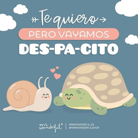 Sin prisa pero sin pausa, el amor sube, sube, sube. I love you, but as the despacito song says, let's take it nice and slowly. Don't rush it but don't hold back and follow love's rhythm. #mrwonderfulshop #quotes