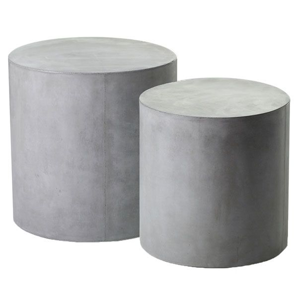 Holloway Round Concrete Side Tables Set Of 2 Moss Manor Side