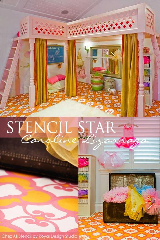 Brightly colored stenciled floor in a little girl's room. SO colorful!! via Paint + Pattern