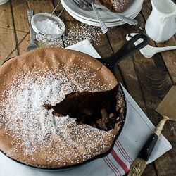 Gluten Free  Dark Chocolate Skillet Soufflé with Tonka Bean Cream