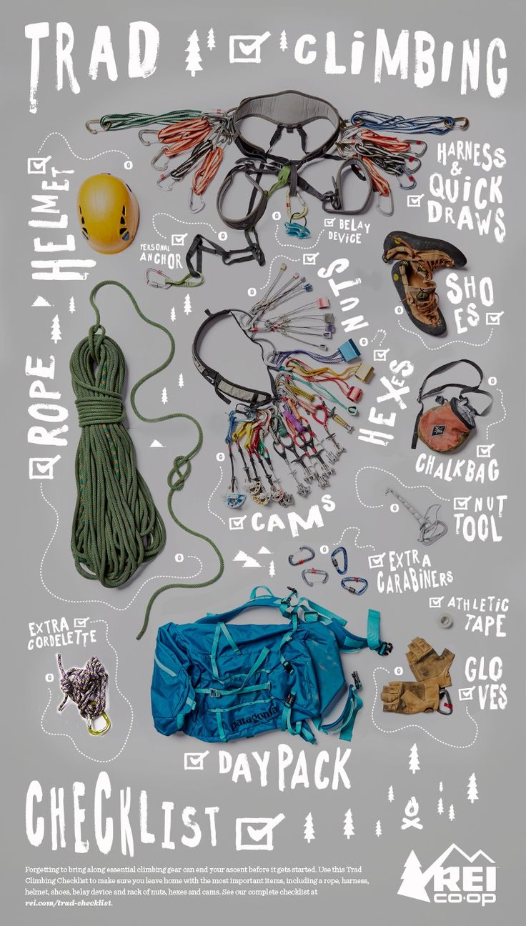 Forgetting to bring along essential climbing gear can end your ascent before it gets started. Use this Trad Climbing Checklist to make sure you leave home with the most important items, including a rope, harness, helmet, shoes, belay device and rack of nuts, hexes and cams. Click the pin to see our complete checklist.