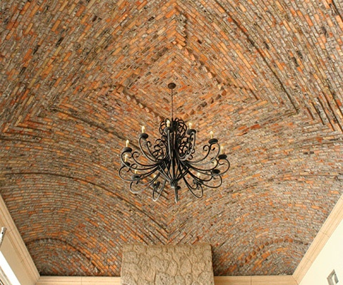 Brick dome and chandelier