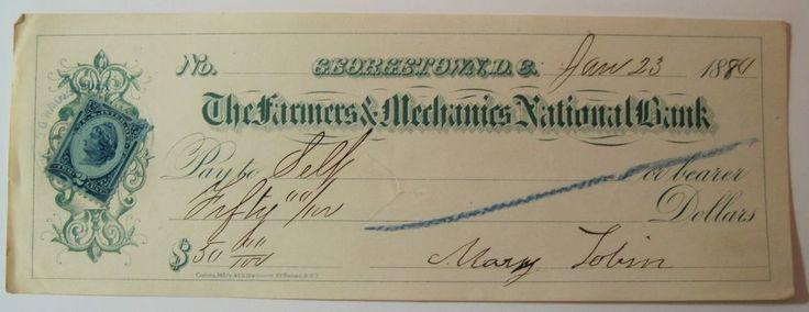 1880 Farmers & Mechanics National Bank Check Georgetown, D.C. w/Revenue Stamp