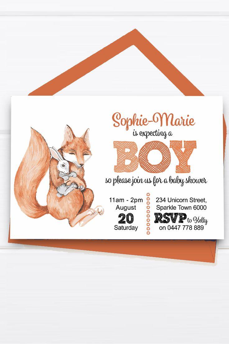 Baby Shower Invitation Customise Download Printable Orange Fox Grey Rabbit Girl or Boy Unisex Cute