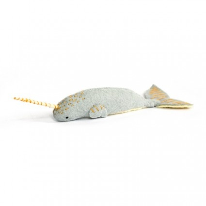 A chubby baby narwhal friend. So super cute! All hand stitched from soft wool felt with embroidered details.He measures about 5 inches in length.