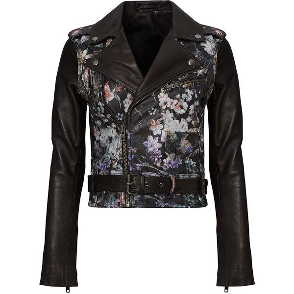 Parker Black Floral Leather Jacket ($30) ❤ liked on Polyvore featuring outerwear, jackets, floral print jacket, floral leather jacket, parker jacket, floral jacket and 100 leather jacket
