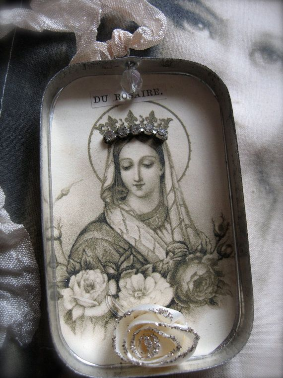 ON RESERVE Altered Tin Reliquary Shrine by PetiteMichelleLouise