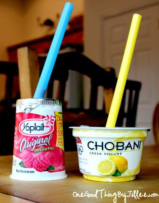 Use straws (big ones work best) to serve your children yogurt. Just peel back the top just enough to insert the straw, or better yet - punch a hole IN the lid WITH the straw, wiggle it to enlarge the hole just enough to allow a little air, and let them suck. So little mess, and far cheaper than a Go-gurt!! It's a great healthy snack that works well in the car.