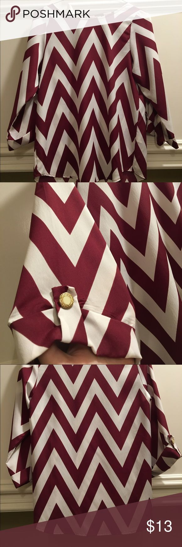 Chevron shirt sleeves go down to elbow, maroon and white, Great condition Tops Blouses