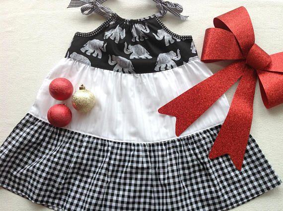 Girls size 3 monochrome elephant adjustable cotton dress