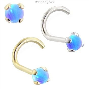 14K real gold (Nickel free) Nose Screw with 2mm Round Blue Opal on MsPiercing