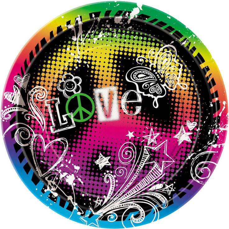 Peace Sign Party Dessert Plates (8)