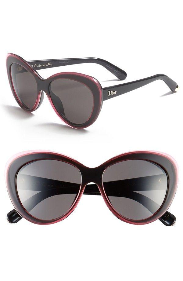 CHRISTIAN DIOR Dior 55mm Cat Eye Sunglasses in Transparent Pink/Black.