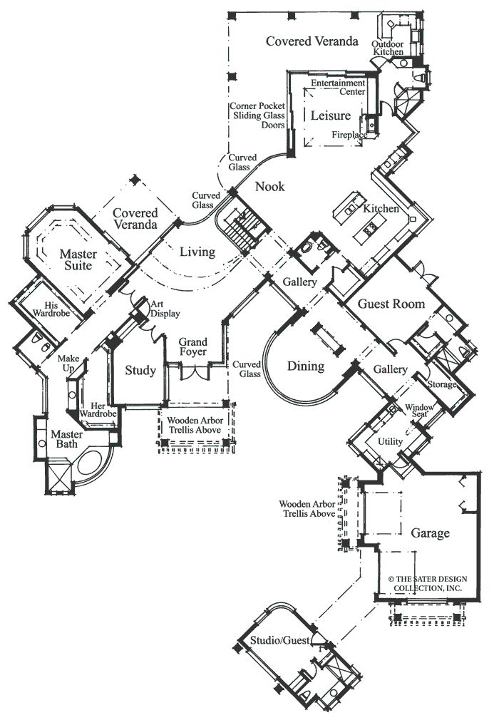 Floor plan of sater design collection 39 s 6748 grayhawk for Sater design house plans