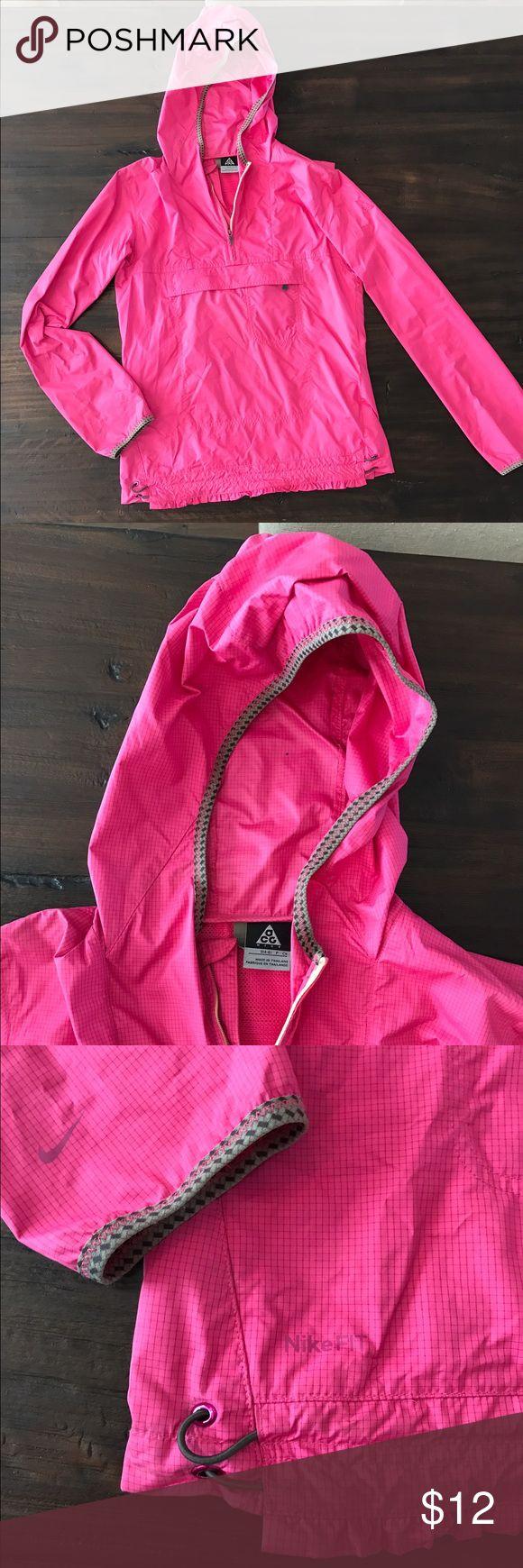 Nike Pink Waterproof Jacket Good used condition, waterproof nike pullover jacket. Cute pink ruffles on the hem. Nike Jackets & Coats Utility Jackets