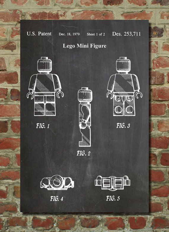 Lego Mini Figure Patent Wall Art Poster by PatentPrints on Etsy, $6.99