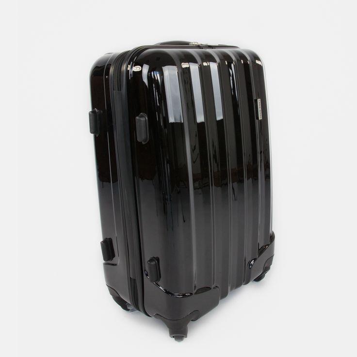Čierny cestovný kufor plastový stredný
