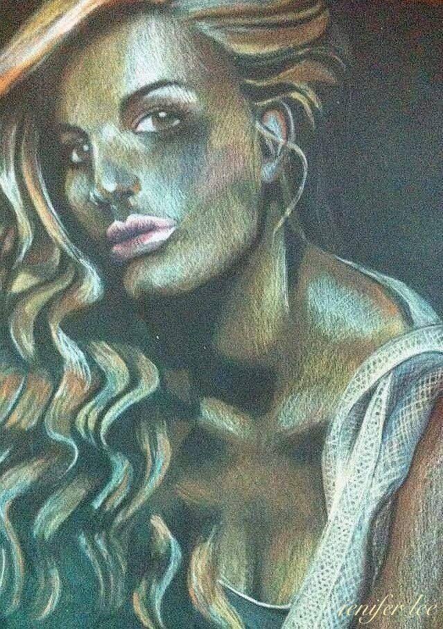 Jenifer Lee -  Art Colour pencil on black paper