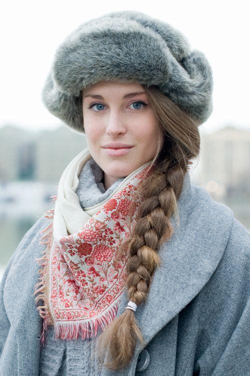 hat, braid, gray, folk scarf