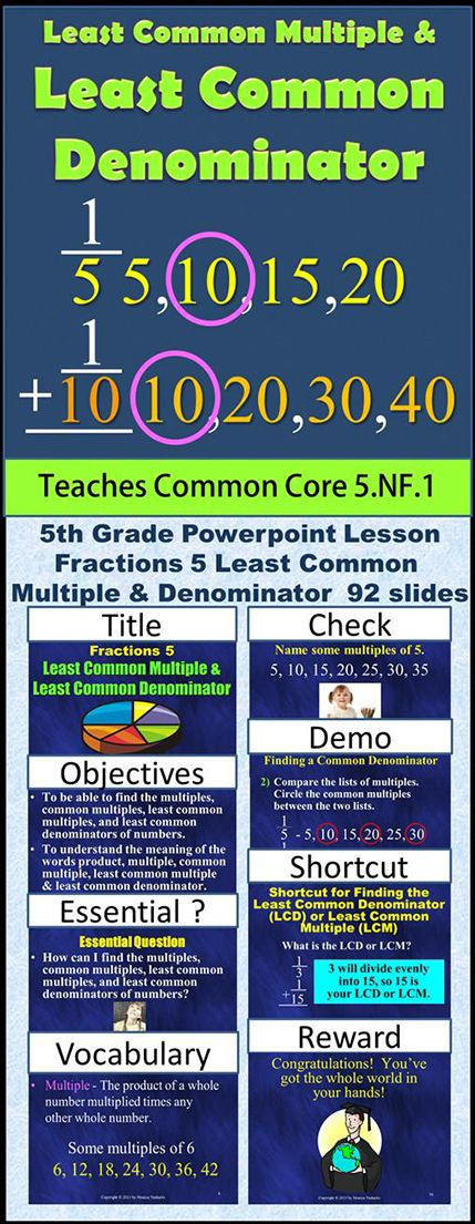 Fifth Grade Fractions 5 - Least Common Multiple & Least Common Denominator teaches students how to find the least common multiple & the least common denominator from a group of fractions in order to change the fractions so that they have the same denominators making it possible to add and subtract fractions with unlike denominators.  To see this product click Visit.