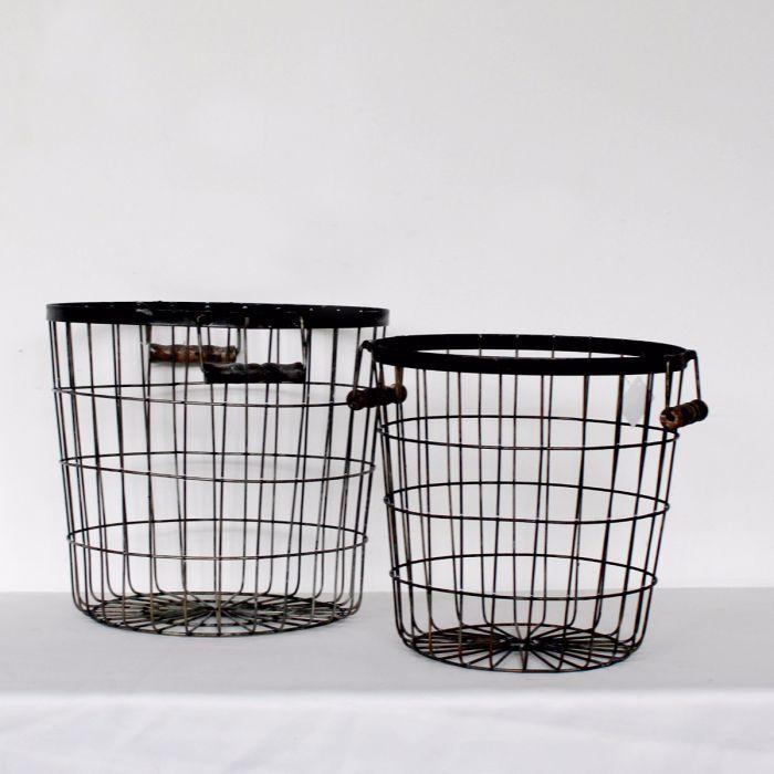 Wire Storage Baskets, Set of Two