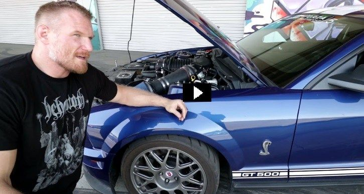 Watch the famous MMA fighter Josh Barnett sharing the story of his 2009 Mustang GT500 build and sets the rubber on fire.