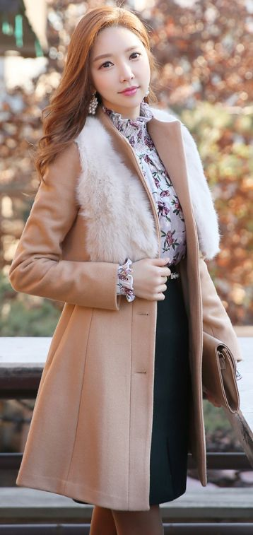 StyleOnme_Rabbit Fur Vest Belted Flared Coat #beige #elegant #feminine #koreanfashion #coat #wintertrend #kstyle #fur #formal #seoul