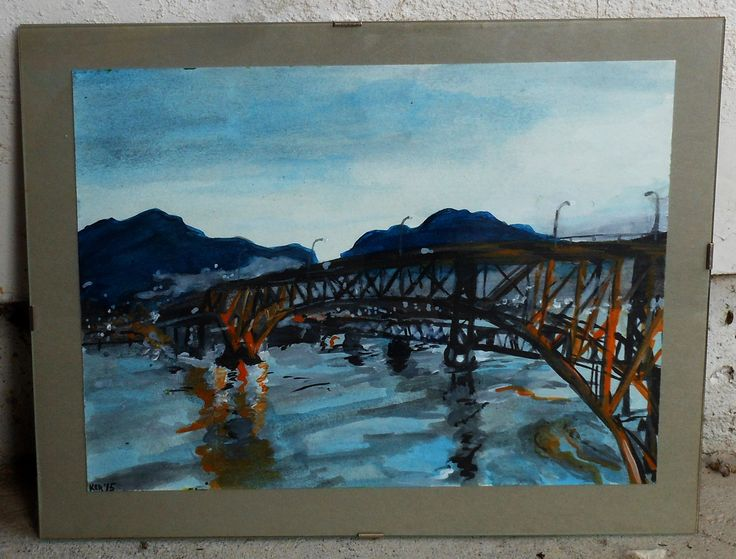 "~Expansion. 2015. Watercolour on thick paper. 14"" x 11""   $50  painting, watercolour, bridge, mountains, water, orange, reflection,"