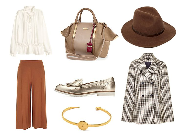 Frilled blouse, H&M//Dark Orange jersey culotte, River Island//Beloved Bracelet, Syster P//Metallic White Sole Penny Loafers//Beige slouchy pinched bag, River Island//Christys' Safari Wool Hat//Heritage Check Cape, Top Shop//