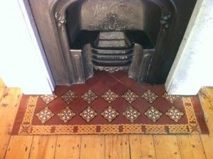 After a new Victorian fireplace was installed we had to reconstruct the hearth by making new concrete slab as a base. Tiles we used are original but ...