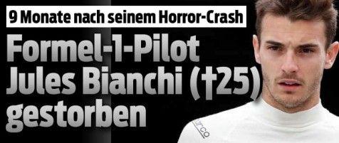 18-Juli-2015 - Formel-1-Fahrer Jules Bianchi gestorben