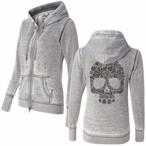 89.00$  Watch now - http://vixvp.justgood.pw/vig/item.php?t=2ln5ub12569 - Fifty5 WOMEN'S FLORAL SKULL SKETCH SUPER SOFT BURNOUT ZIP UP HOODIE Sugar Skull 89.00$