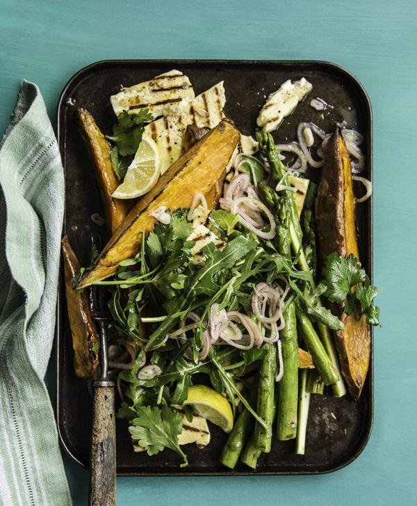 Roast Sweet Potato, Haloumi & Asparagus Salad