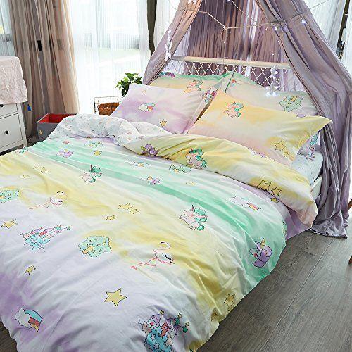 100% Cartoon Animal Unicorn Duvet Cover Twin Set Pillowcases Kids Bedding 3 PCS #ORoa #Cottage