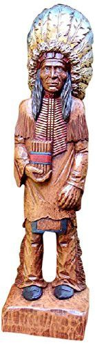 Cigar Store Indian Figurine Master Carvers Reproduction, Hand-Painted Finish