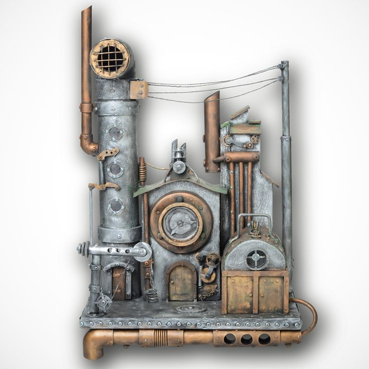Urban Art Power Lines Steampunk Art / Metal Wall Art   For Sale. Metal Wall