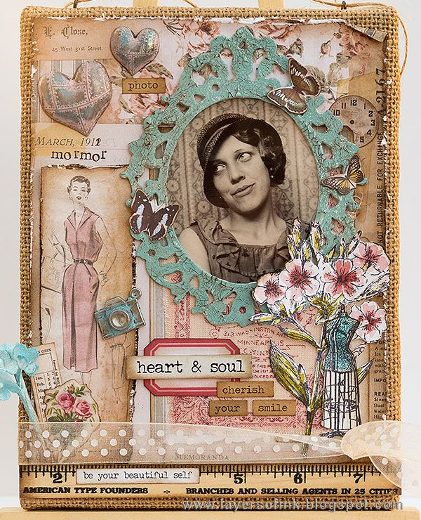 Layers of ink - Layered Vintage Burlap Canvas by Anna-Karin. Made for the Simon Says Stamp Monday Challenge blog, with Sizzix dies by Tim Holtz and lots of his idea-ology papers and embellishments. Stamps by Stamper's Anonymous and Tim Holtz.