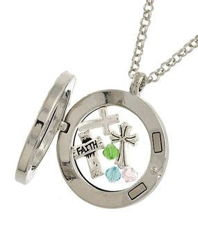 Silver Tone Faith Cross Round Floating Charms Locket Necklace