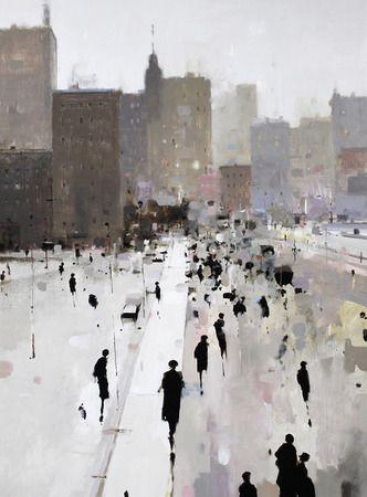 Geoffrey Johnson, City Market, 2013, Oil on panel, 40 x 30 inches