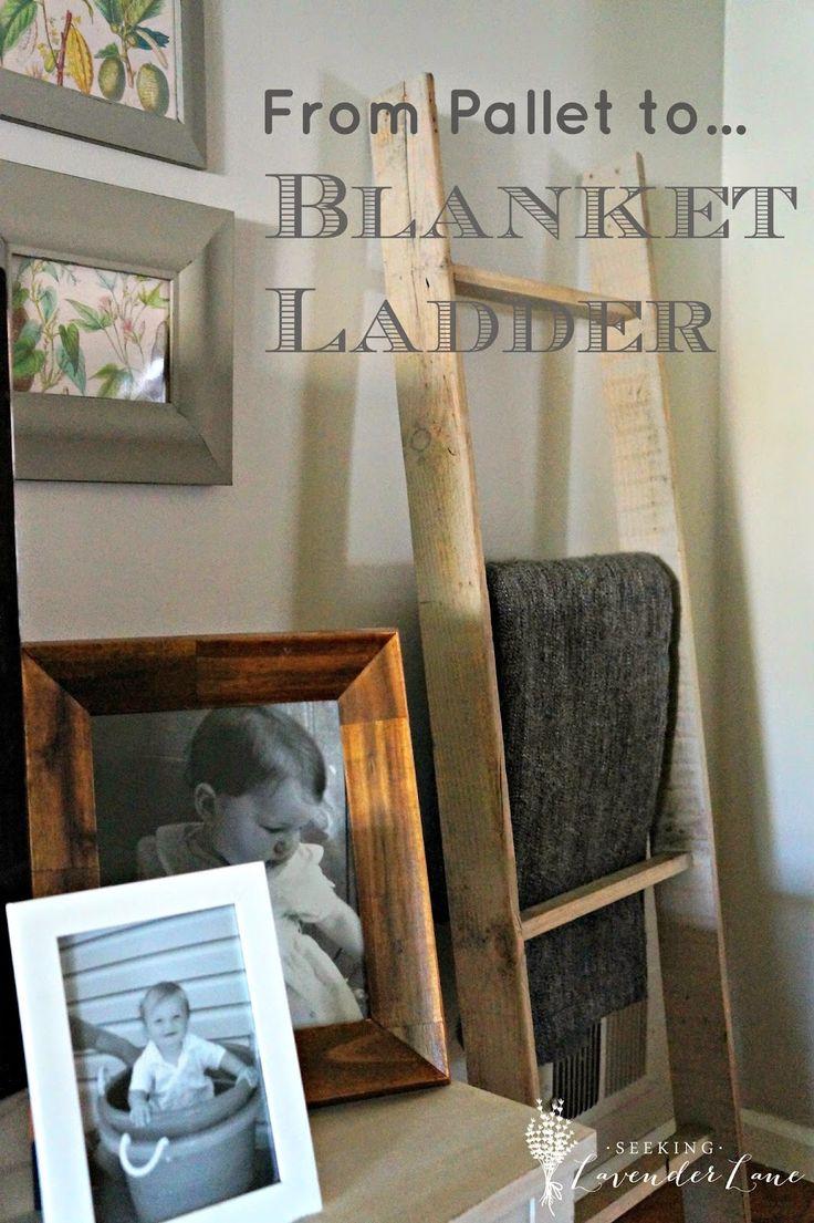 Seeking Lavender Lane: DIY Blanket Ladder from a Pallet