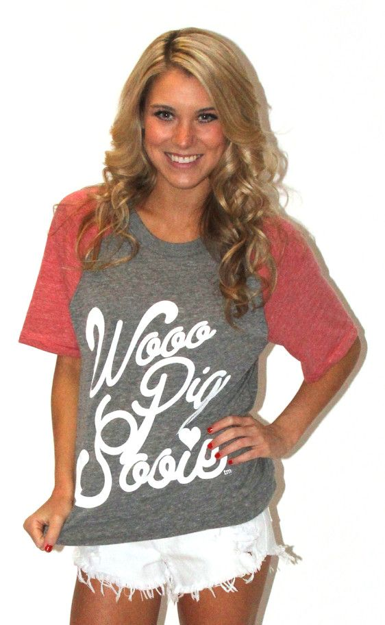 Fun and casual for tailgating in the heat!  Riffraff | loopy woo pig sooie Arkansas razorbacks hogs tee