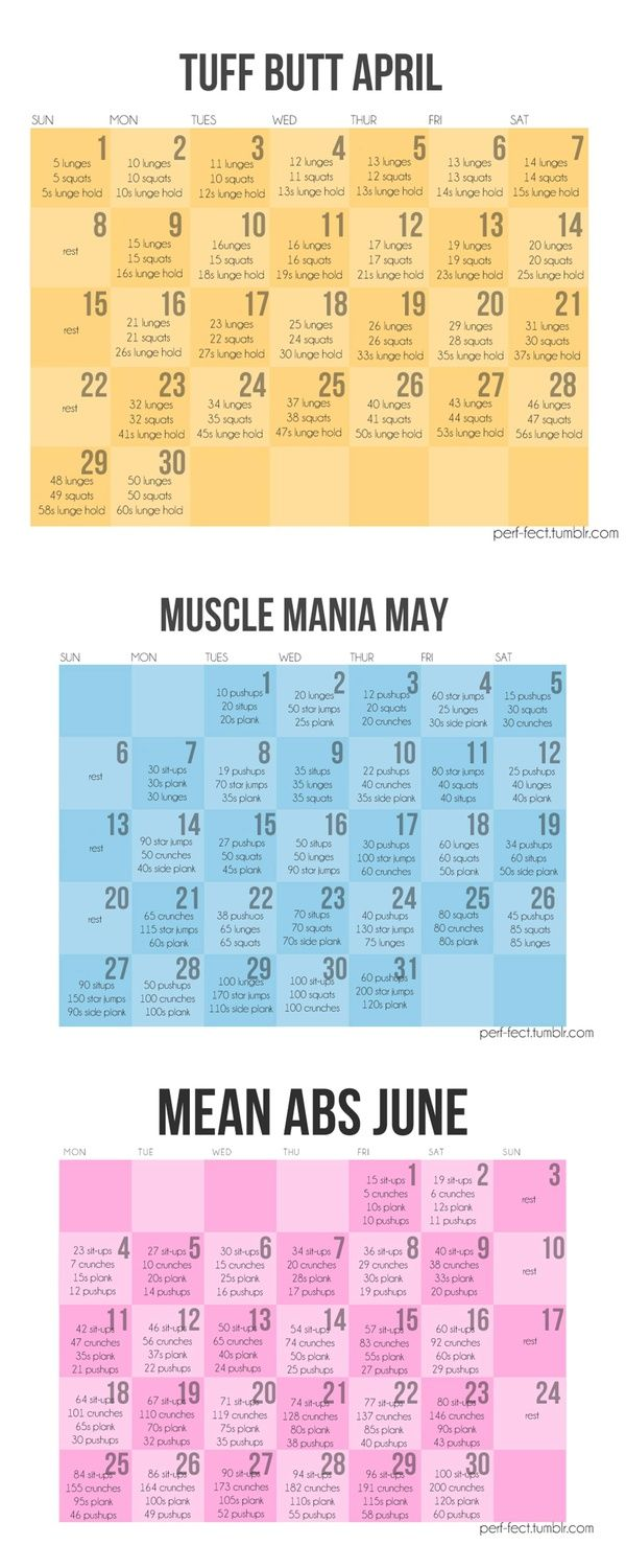 Fitnes workout schedule, Tuff Butt April, Muscle Mania May, Mean Abs Junes, etc...